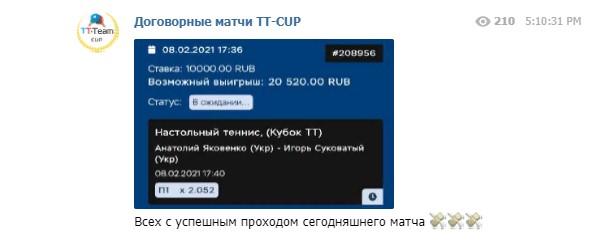 tt-cup договорные матчи статистика