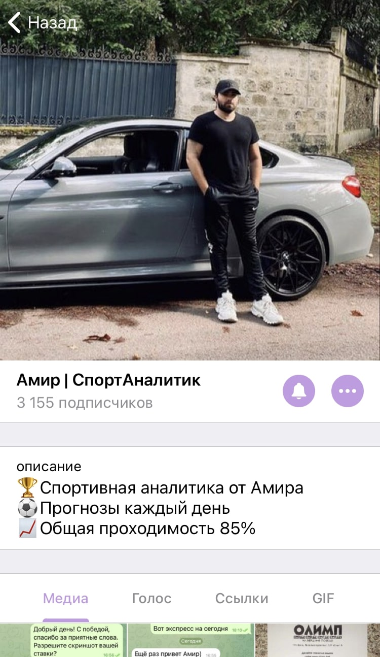 Амир спортивный аналитик - Телеграмм канал