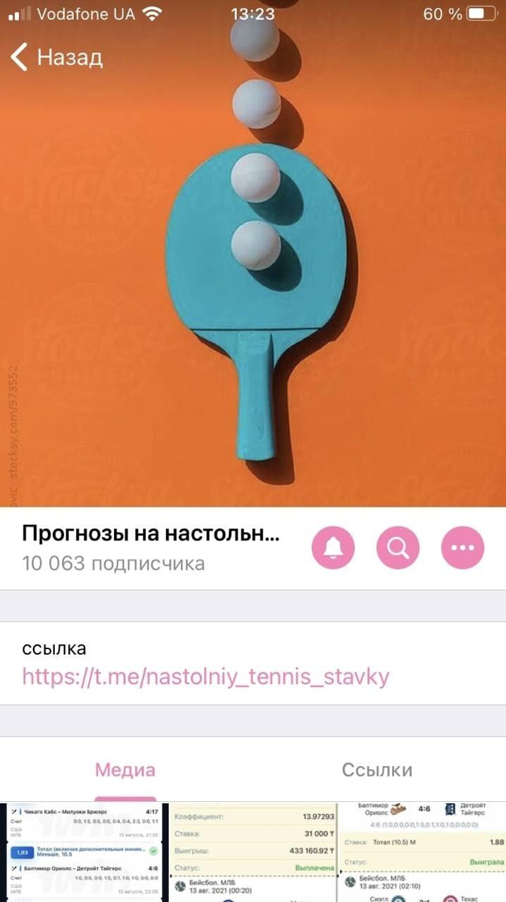 Прогнозы на настольный теннис в Телеграмм