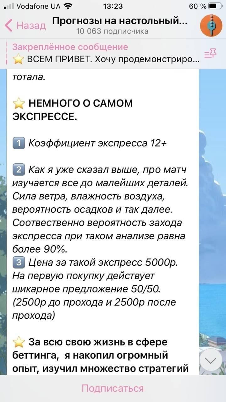 Обзор прайс листа капперского канала в Телеграмм Прогнозы на настольный теннис