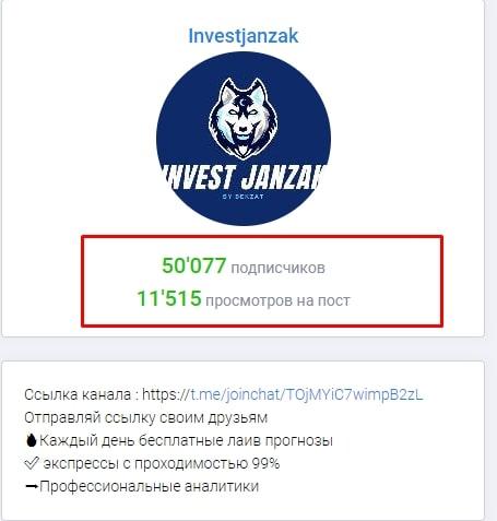 Просмотры и подписчики Telegram-канала Investjanzak