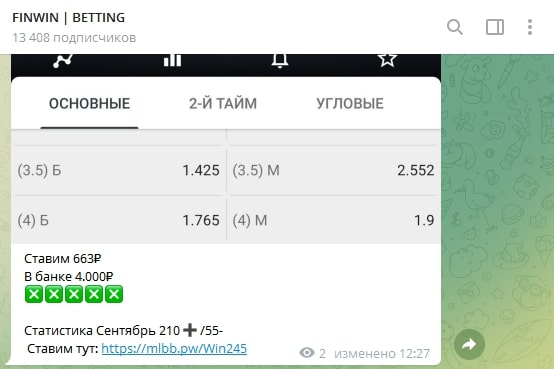 FinWIN - статистика прогнозов