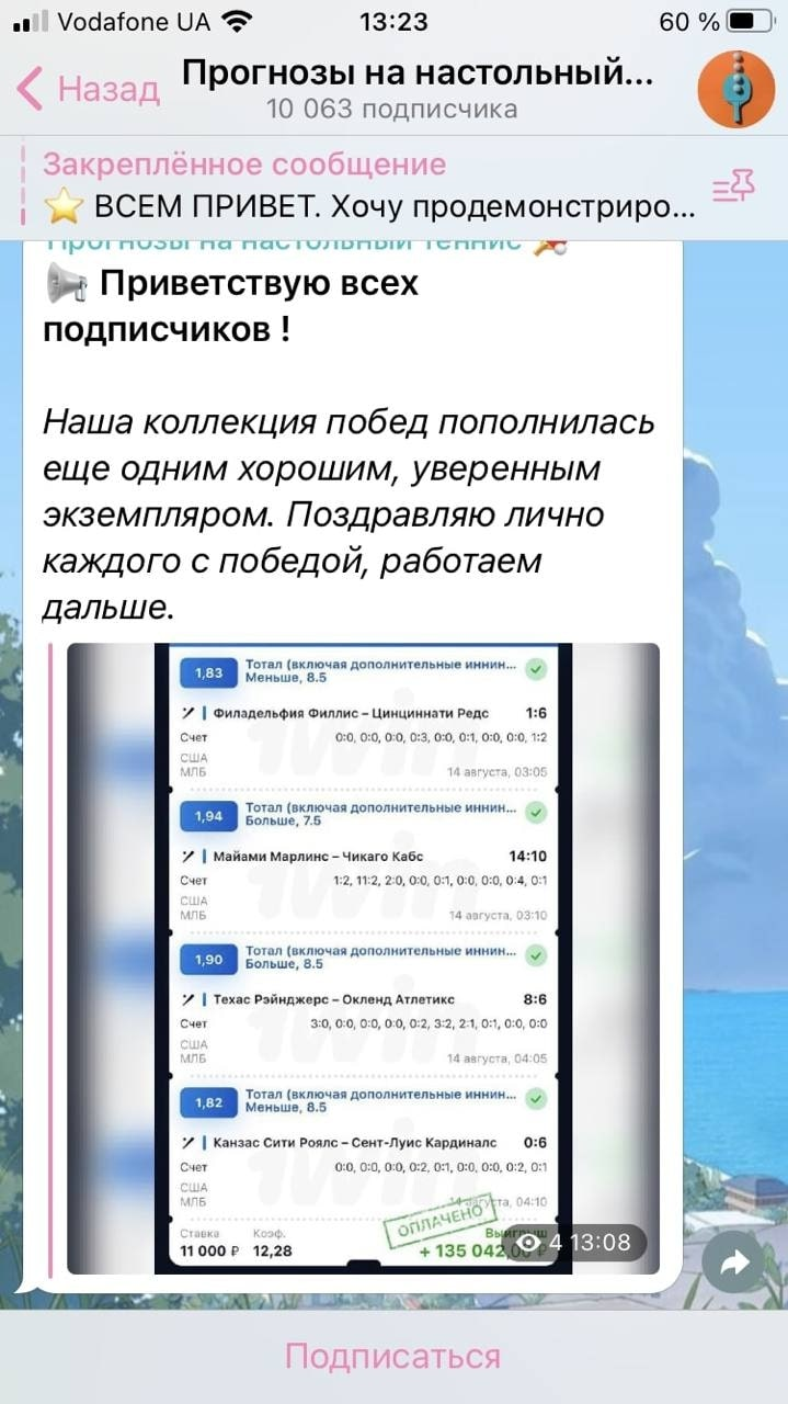 Телеграмм Прогнозы на настольный теннис от Антона Иванова