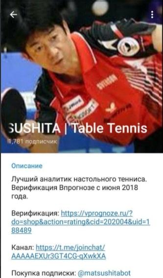 Телеграм-канал о ставках на настольный теннис Matsushita
