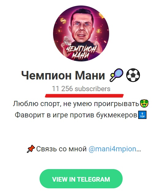 Телеграм канал Чемпион Мани